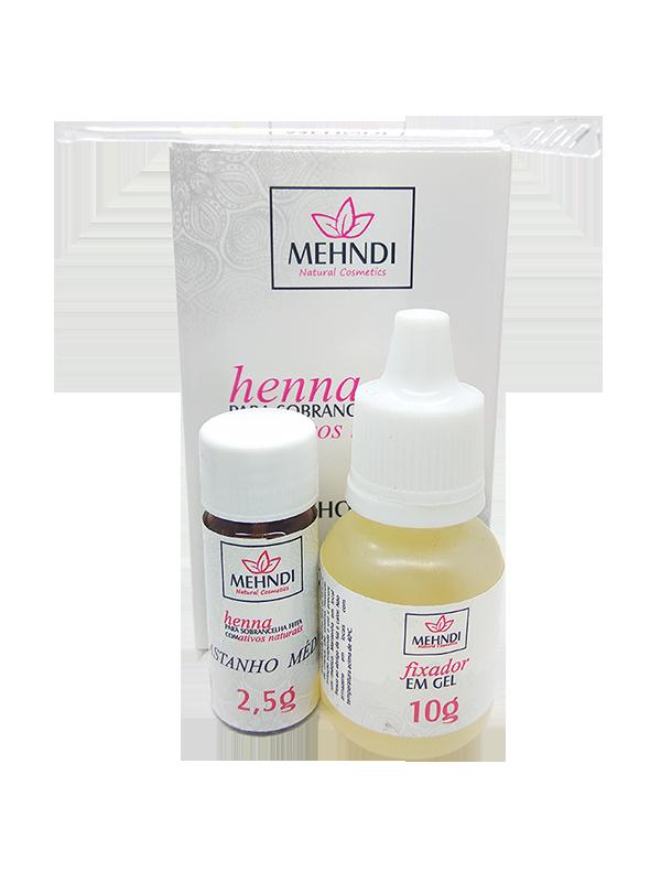 Henna Mehndi para Sobrancelha 2,5gr com Fixador Castanho Médio