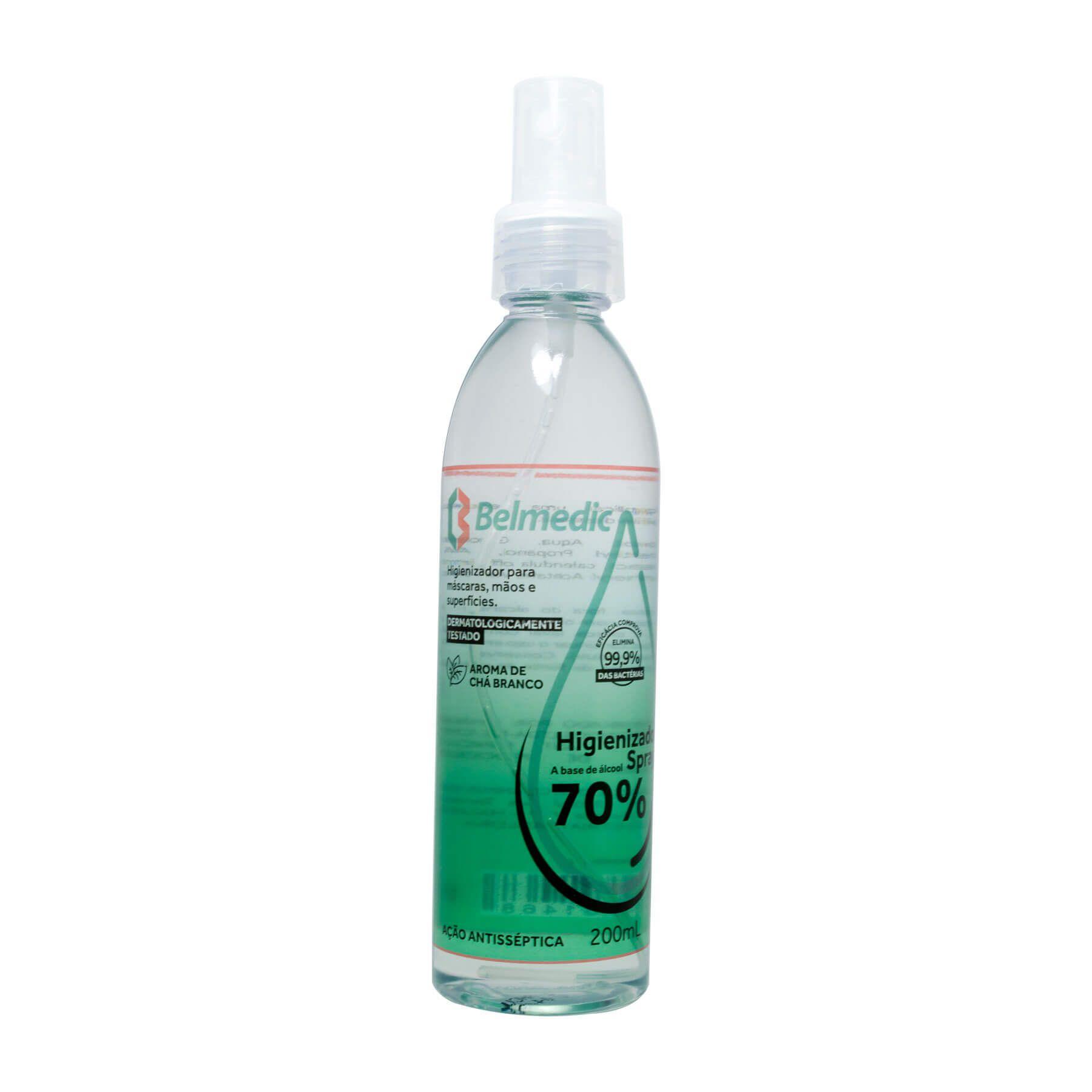 Higienizador Spray Belmedic Base Álcool 70% 200ml