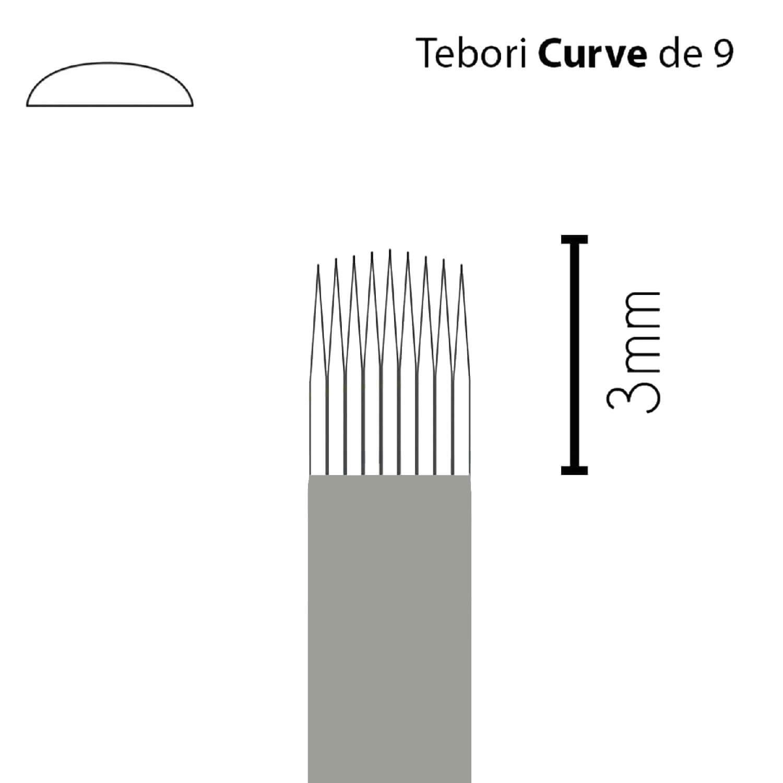 Lâmina Flox Tebori Curve 9 Pts c/ Anvisa - Kit 20 Un.