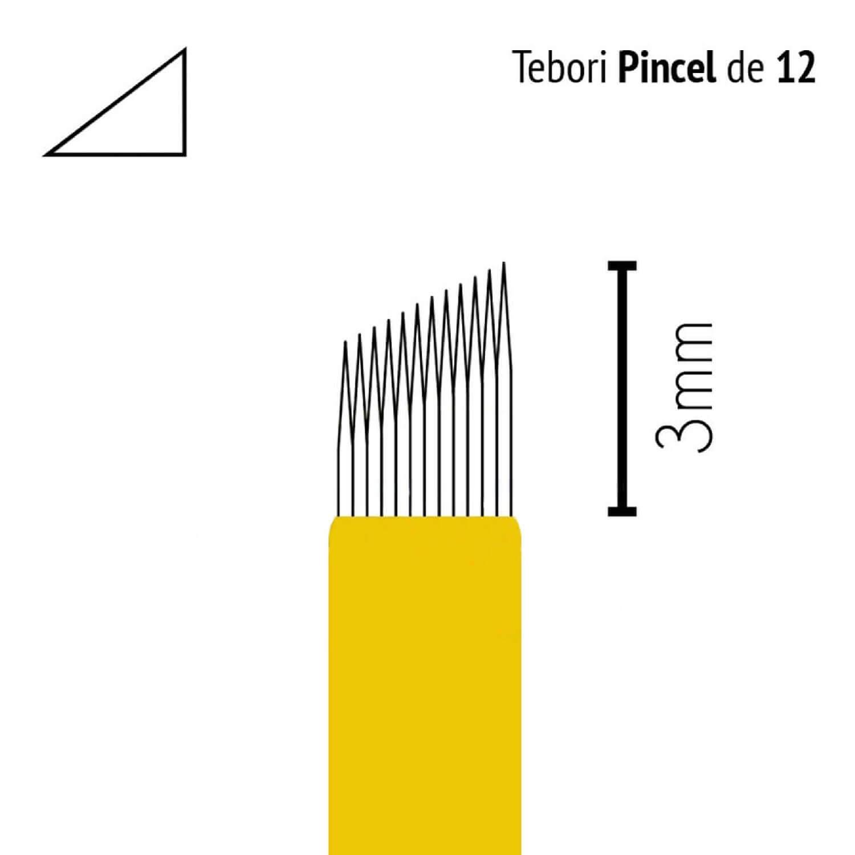 Lâmina Flox Tebori Pincel 12 Pontas com Anvisa