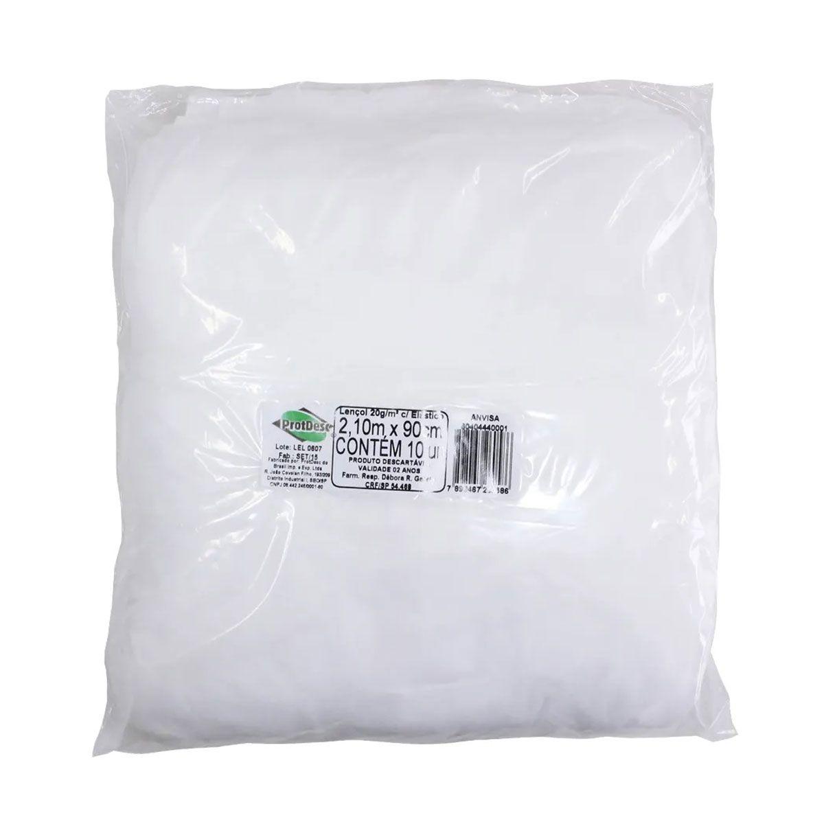 Lençol Descartável Protdesc Branco 20g com Elástico 10un