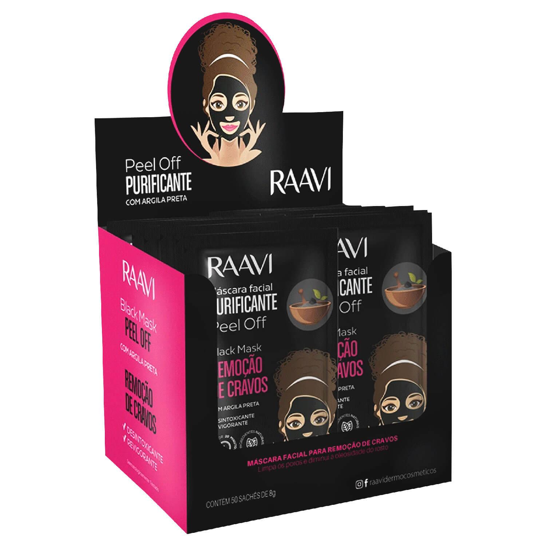Máscara Facial Raavi Black Mask Peel Off Cx 50 Sachês 8g