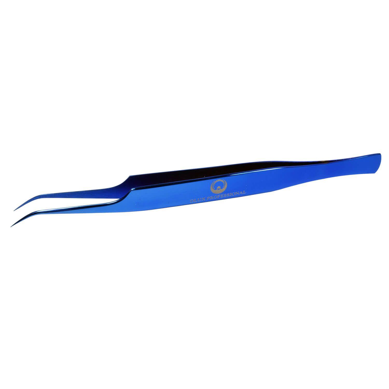 Pinça Dlux Professional Ponta Light Curva Blue Com Case