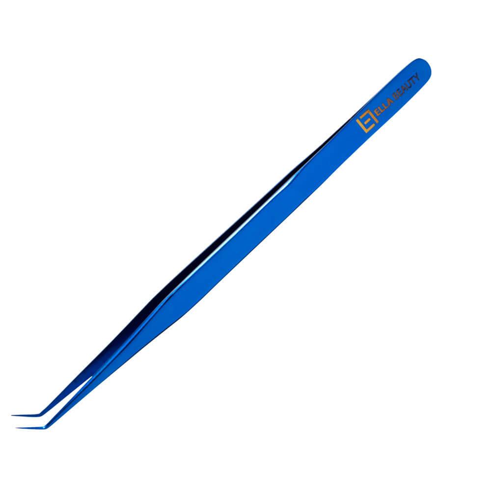 Pinça Ella Beauty Extensão Cílios Slim Curva Blue