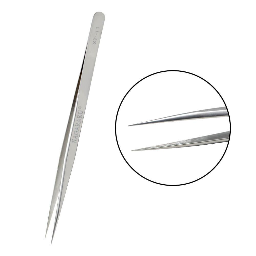 Pinça Nagaraku Extensão de Cílios Slim Reta ST-11 Silver