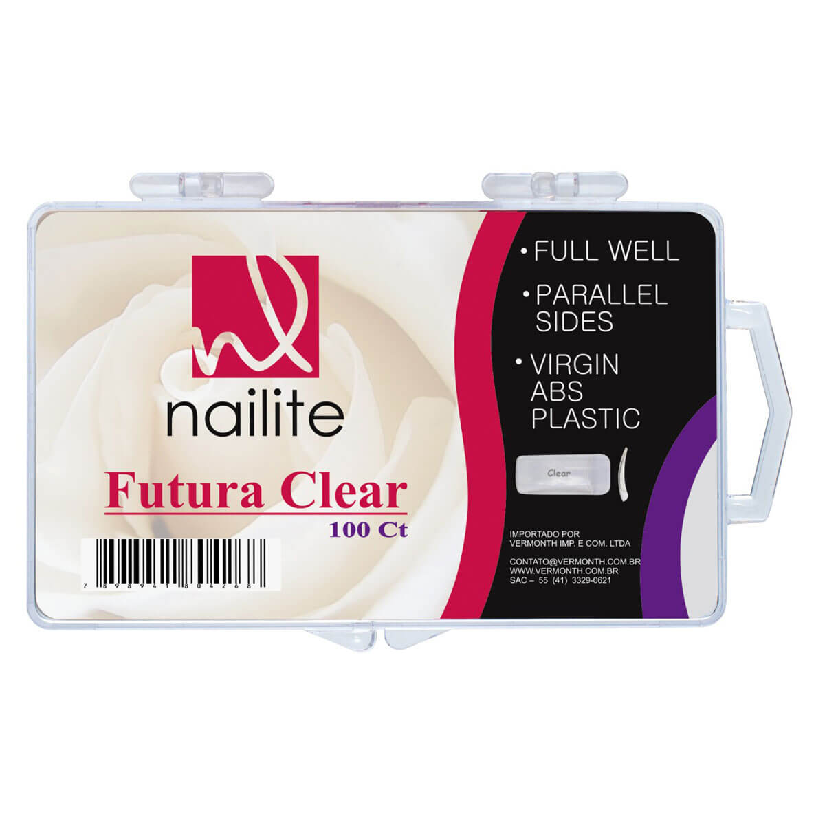 Tips Nailite Futura Clear com 100un