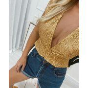 Blusa Paetê Dourado