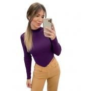 Blusa Tricô Canelada Bico Roxo