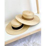 Chapéu de Palha Aba Grande com duas Faixas