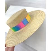 Chapéu de Palha com Faixa Preta e Faixa Tie Dye