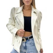 Jaqueta de Couro Alongada Off- White