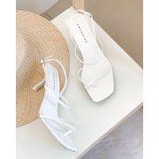 Sandália Bico Quadrado Tiras Branca