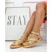Sandália Flatform Agata Dourado