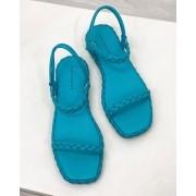 Sandália Flatform Trança Azul