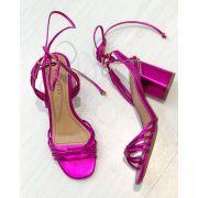 Sandália Metalizada Salto Médio Pink