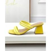 Sandália Mule Tiras Amarelo
