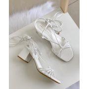 Sandália Salto Bloco Amarração Branco