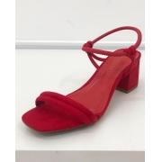 Sandália Salto Bloco Vermelho