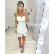 Vestido Branco Rendado + Sandália Metalizada Cores Salto Bloco
