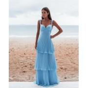 Vestido Longo Plissado Azul Serenity