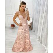 Vestido Longo Rose Rendado