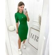 Vestido Midi Canelado Manga Curta Verde