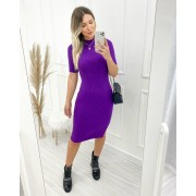 Vestido Tricô Canelado Purple