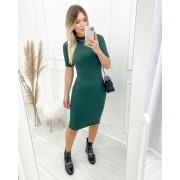 Vestido Tricô Canelado Verde
