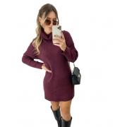 Vestido Tricô Mousse Golão Vinho
