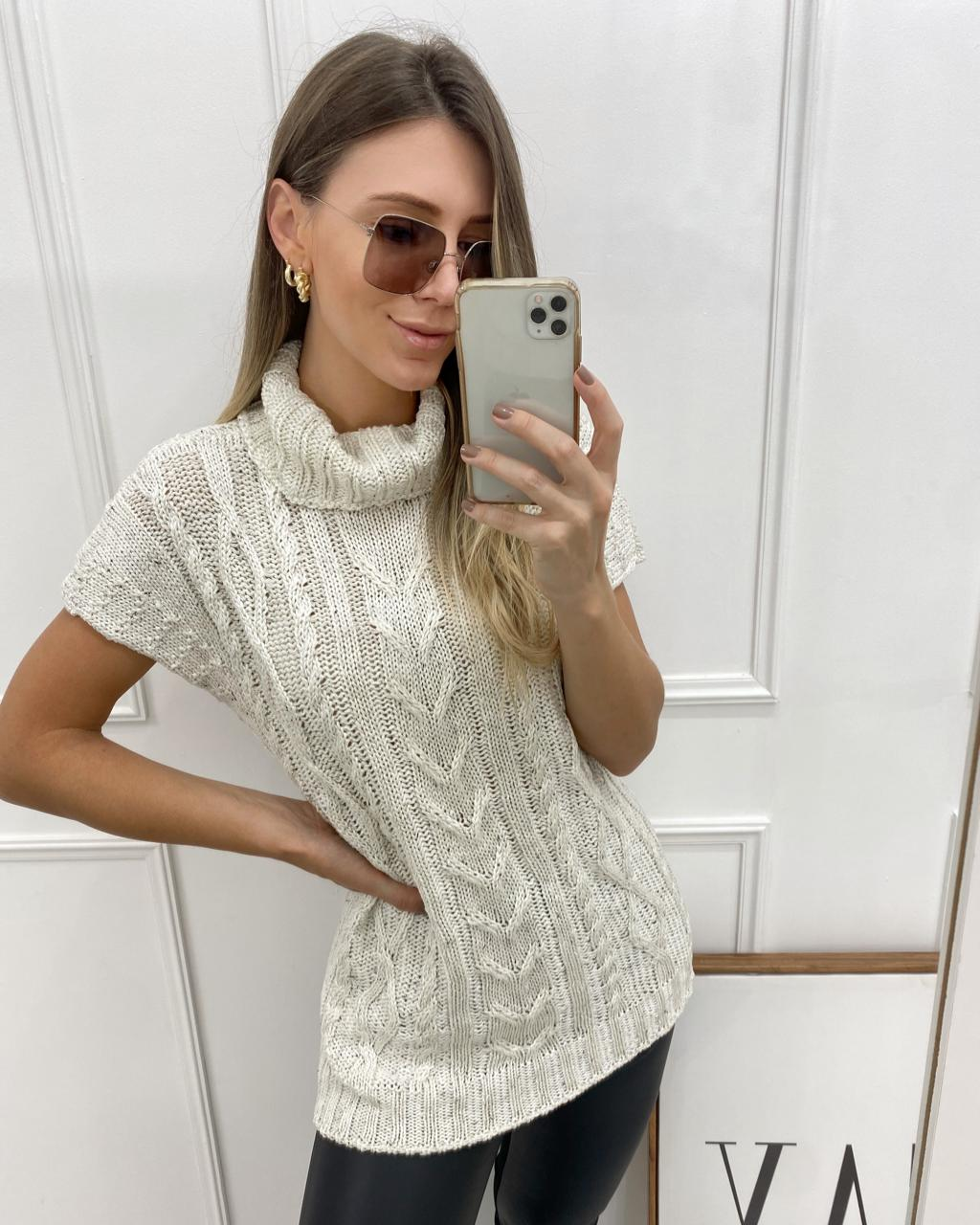 Blusa Tricô Alongada Off-white