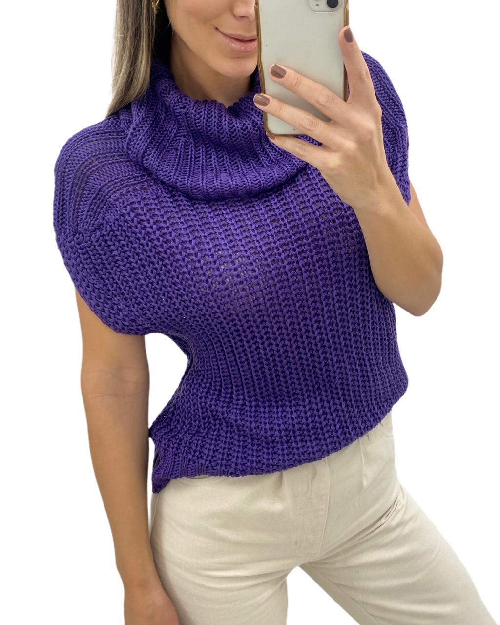 Blusa Colete Tricô Toscana Purple