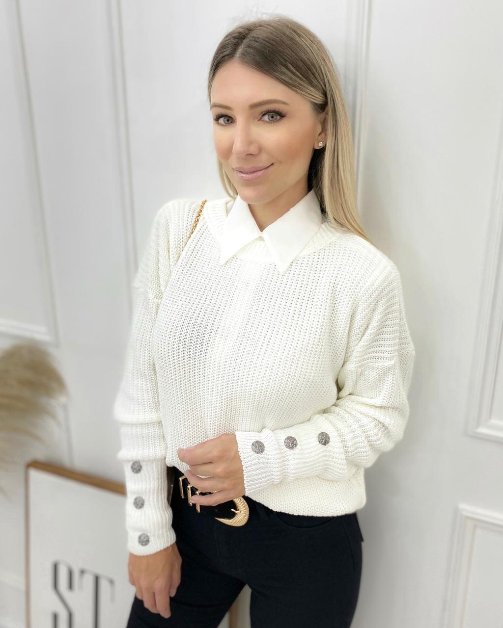 Blusa Tricô Basic Off-white