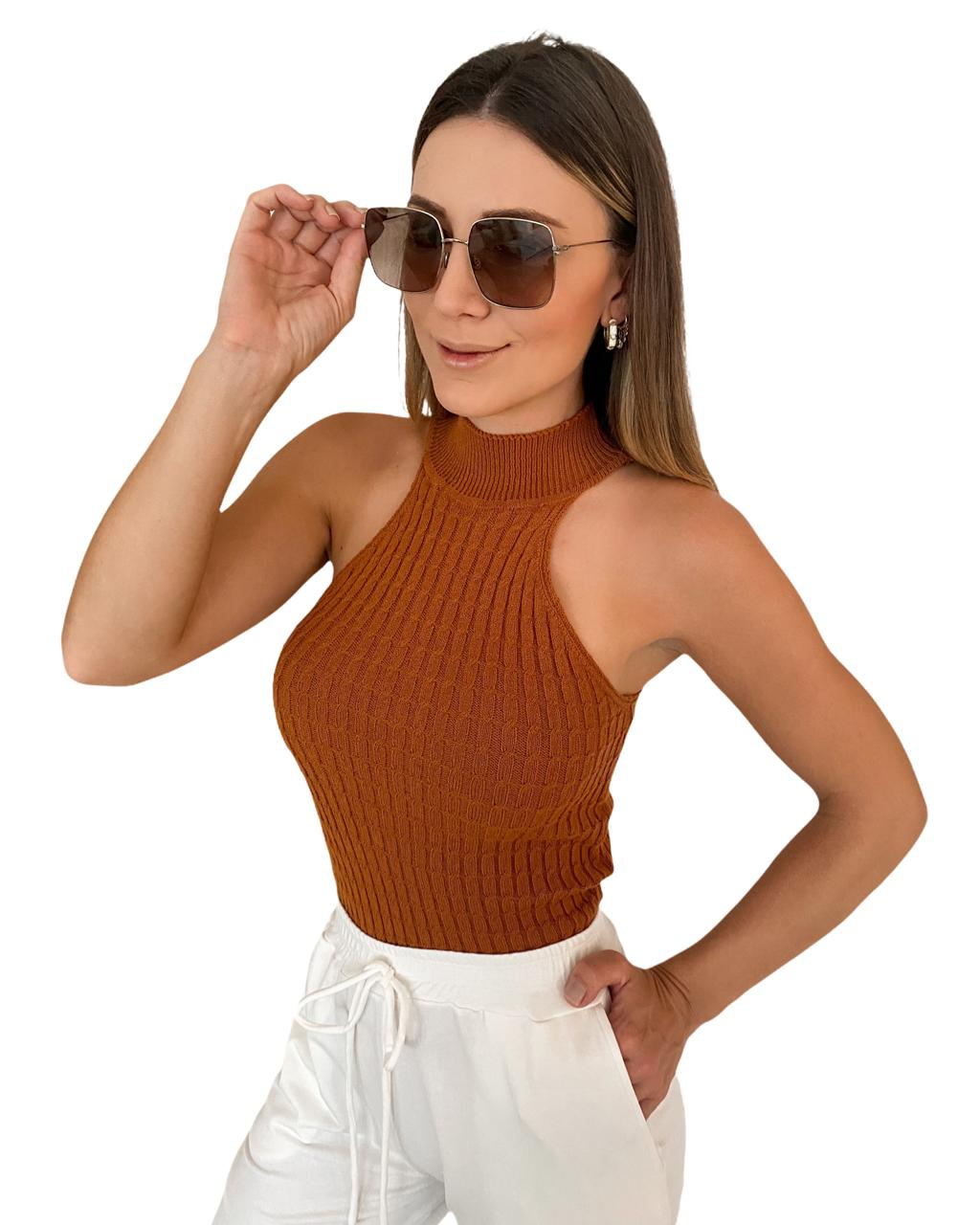 Blusa tricô Bianca Camel