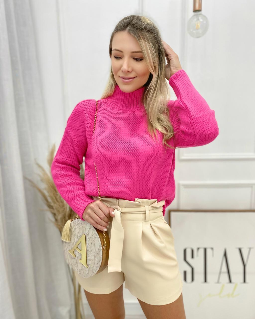 Blusa Tricô Gola Alta Pink