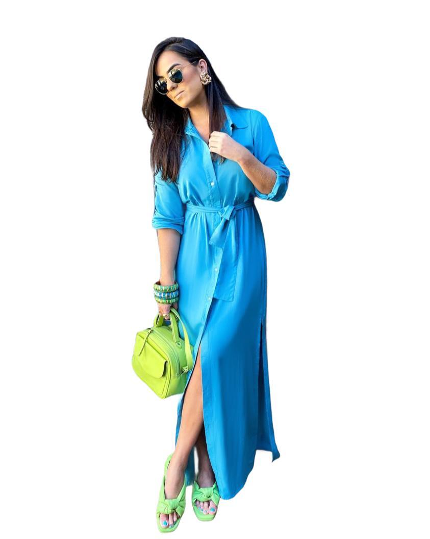 Camisa Vestido Longa Azul