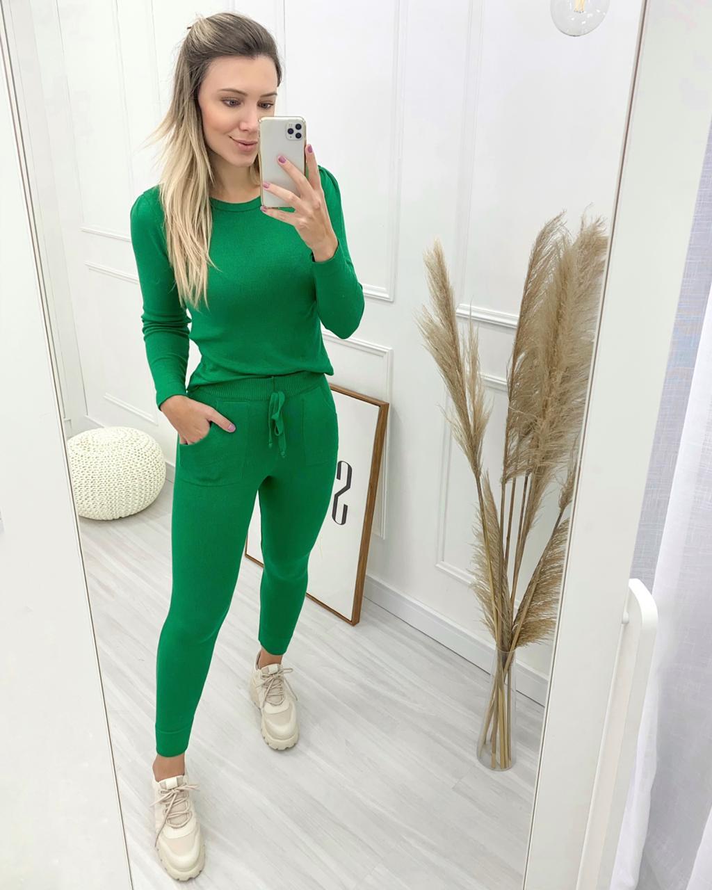 Conjunto Tricô Modal Verde