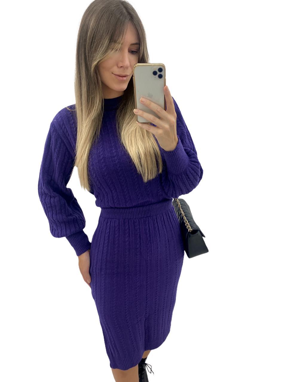 Conjunto Tricô Saia e Blusa Purple