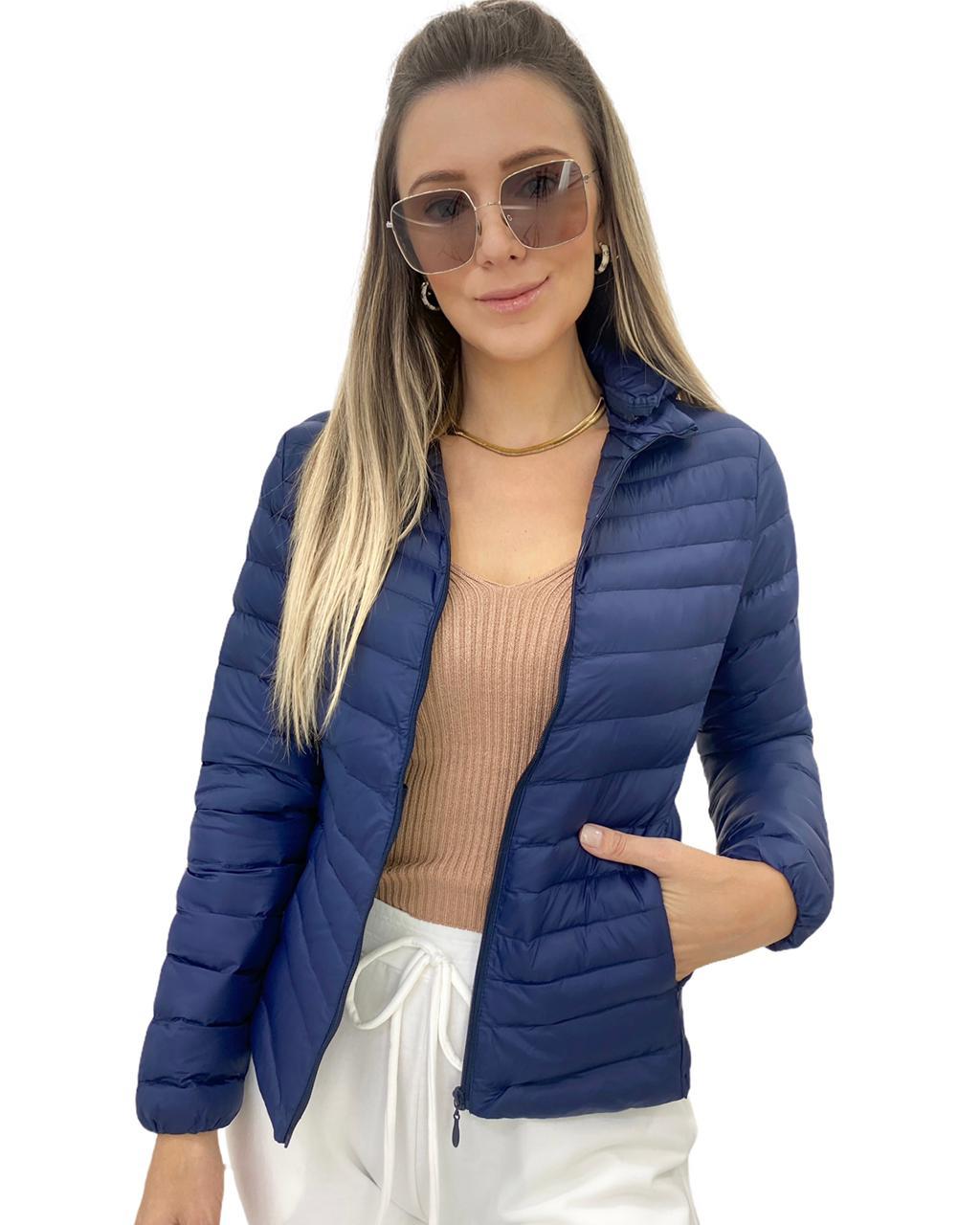 Jaqueta Nylon Capuz Azul