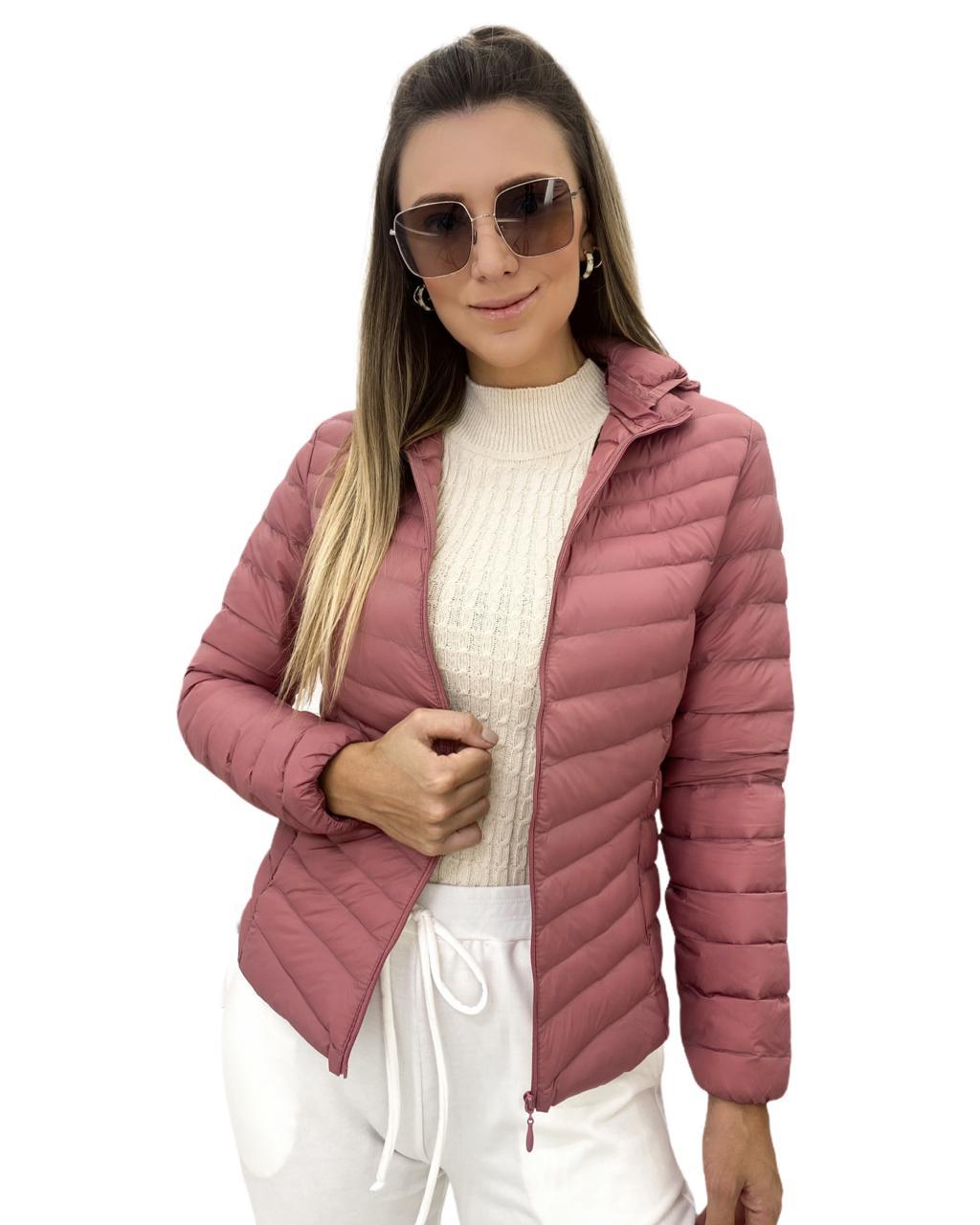Jaqueta Nylon Capuz Rosa