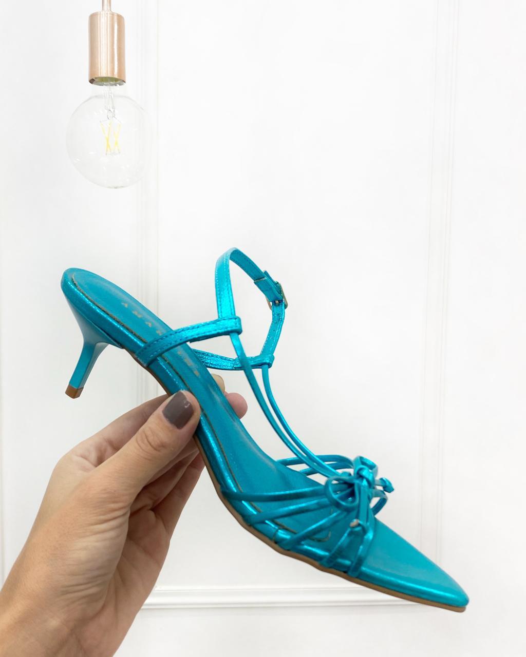 Sandália Bico Folha Azul