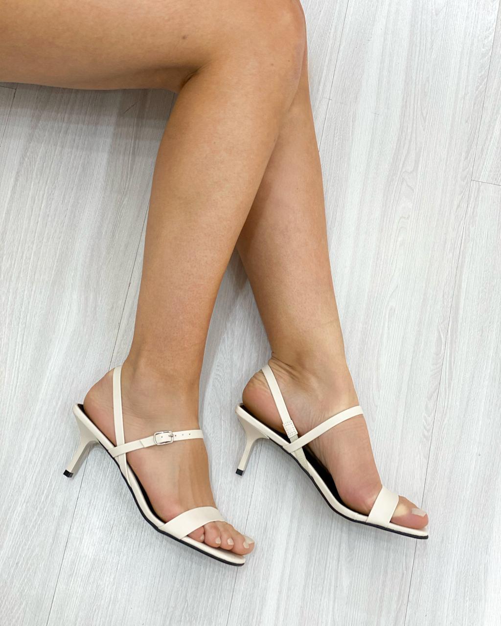 Sandália Bico Quadrado Off-White