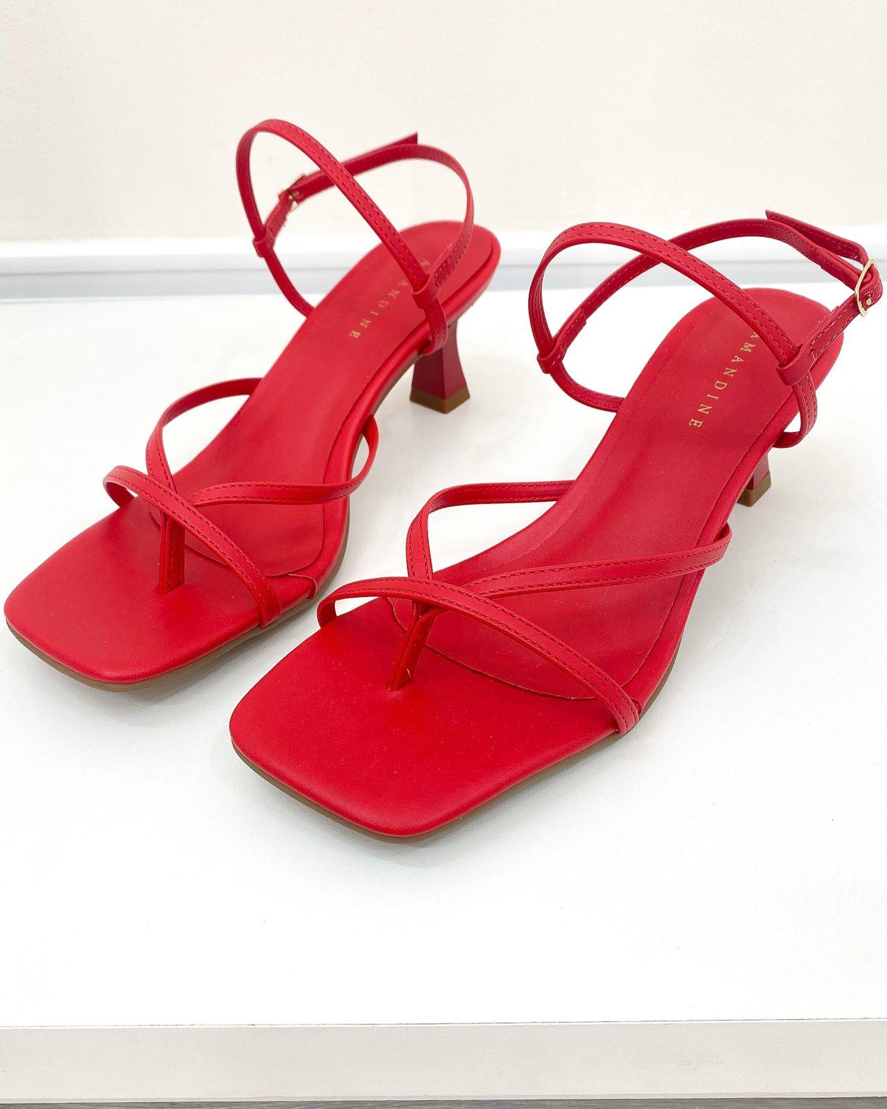 Sandália Bico Quadrado Salto Taça Vermelho