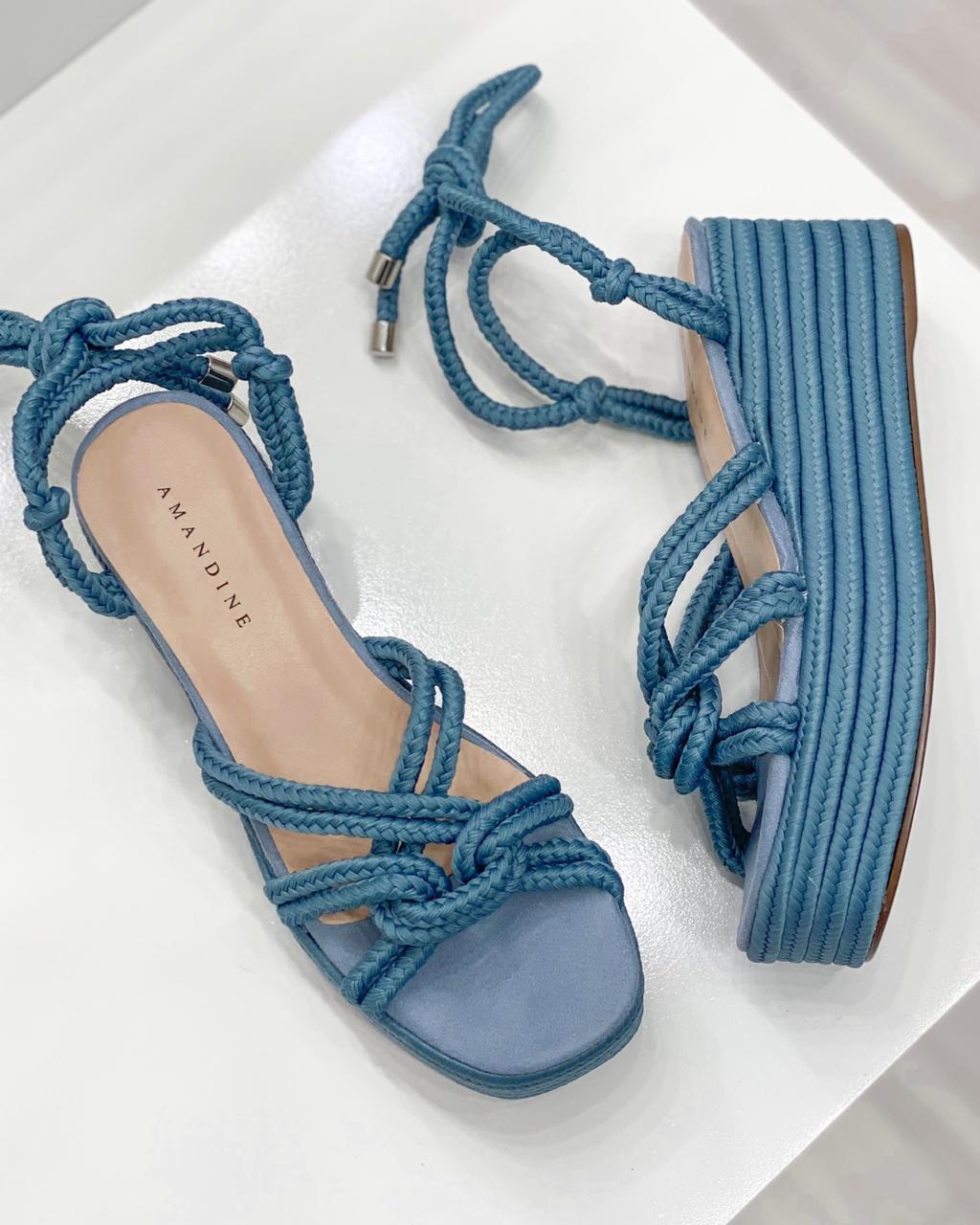 Sandália Corda Búzios Azul