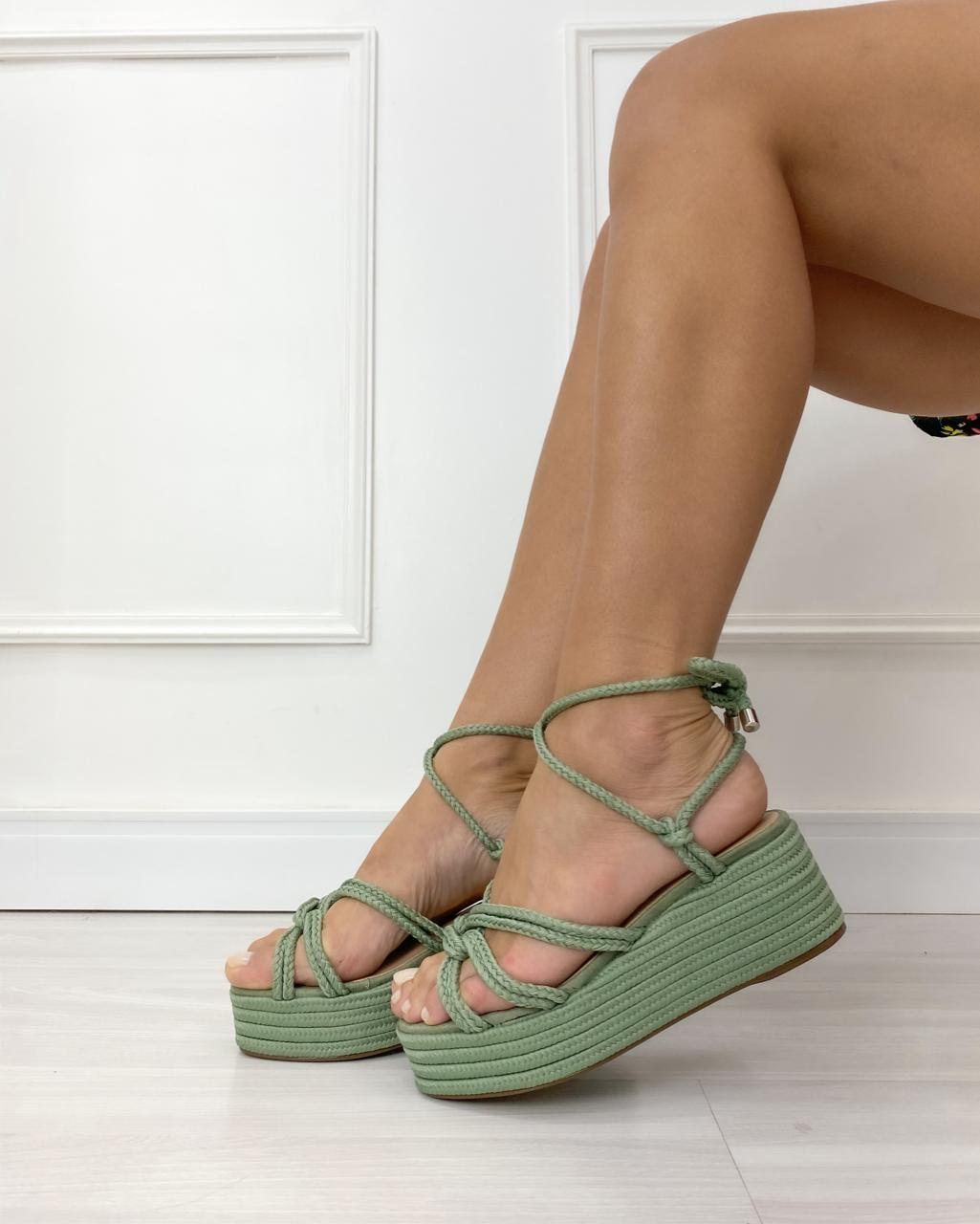 Sandália Corda Búzios Olive