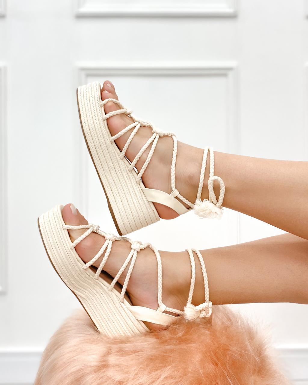 Sandália Corda Trançada Off-White