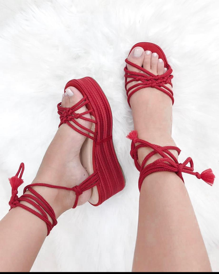 Sandália Corda Vermelho