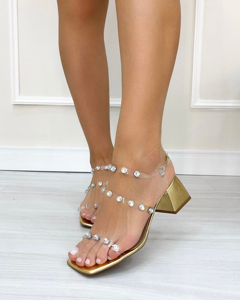 Sandália Cristal Dourado