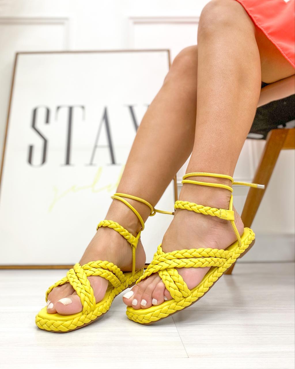 Sandália Flatform Agata Amarelo