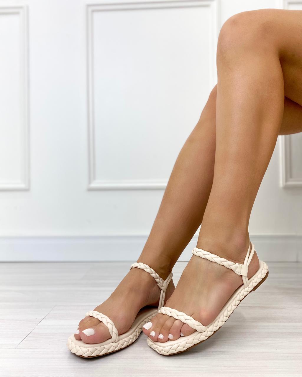 Sandália Flatform Trança Off-White