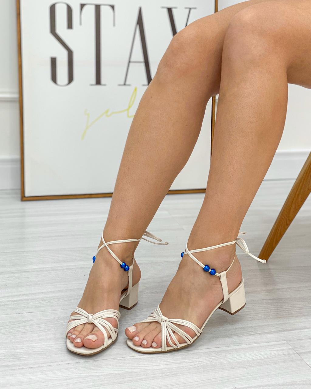 Sandália Jolie Salto Bloco Off-White